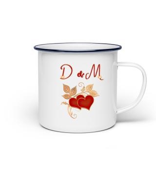 Tasse für Paare Initialen D und M