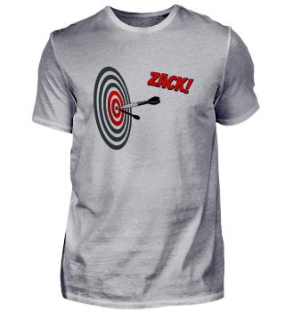 Dart Bulls-Eye Zack ins Schwarze Dart-Shirt