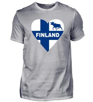 Finnland Flagge Elch Herz Männer T-Shirt