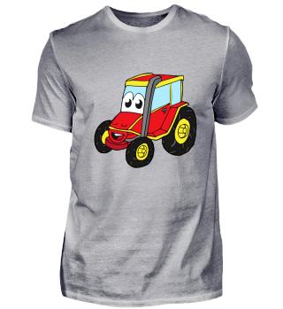 Kindermotiv: roter Traktor mit lustigem