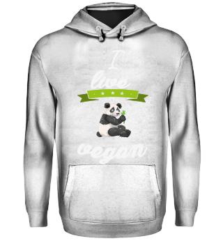 I live vegan panda bear gift