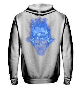 Skull Lover Shirt - Blue Flaming Skull