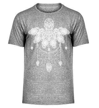 Dotwork Tattoo Skull Mandala 3 - weiss