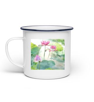 Tassen Lotusteich Lotusblume rosa - Emaille-Tasse: Leicht und unzerbrechlich