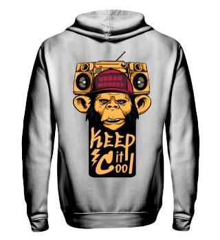 Herren Zip Hoodie Sweatshirt Urban Monkey Ramirez