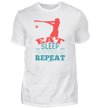Eat Sleep Softball Repeat