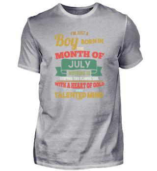 July Birthday boy man saying
