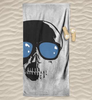 Totenkopf Sonnenbrille Strandtuch