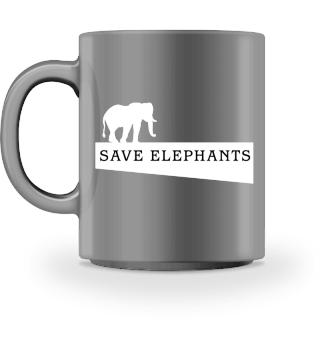 SAVE elephants - white