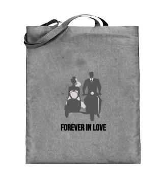 Forever in Love bride and groom bike
