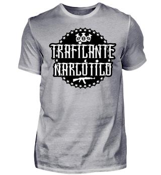 Herren Kurzarm T-Shirt Traficante Narcotico BW Ramirez