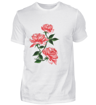 T-shirt with watercolor Red roses