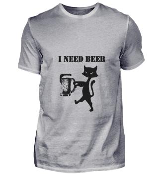 Katze Zombie Ich Brauche Bier Spruch eng