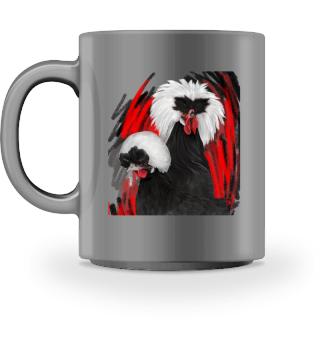 White crested mug becher mok