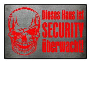 Skull SECURITY Haus - grunge rot