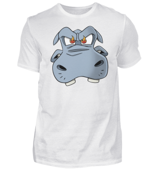 Fired up and angry mad hippo