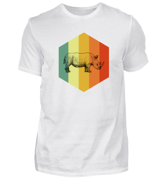 RHINOCEROS Retro Indian Rhinoceros Tee S