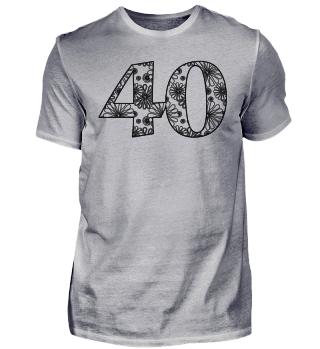Geburtstag 40 ausmalen II - schwarz