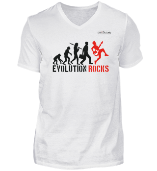 Herren V-Neck Shirt - Evolution Rocks
