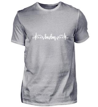 Bourbon Whiskey Alkohol EKG Herz T-Shirt