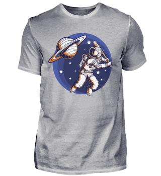 An Astronaut Playing Baseball