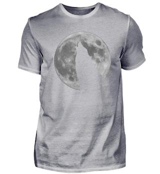Wolf heulend vor Mond