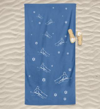 Badetuch in blau mit Skifahrer