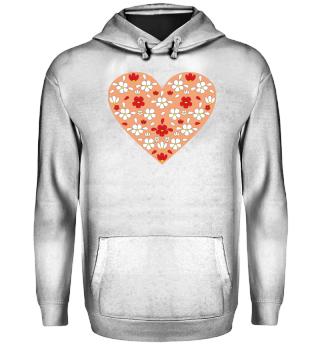 Herz mit Blumen, orange