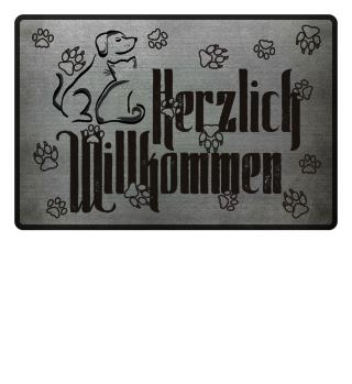 Herzlich Willkommen Cat Dog black I