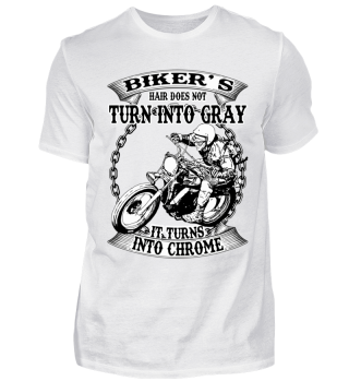 Biker`s hair does not turn gray