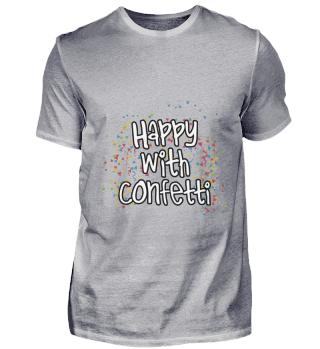 Happy with confetti Carnival Shrove Tues