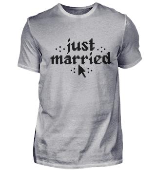 Just married Hochzeitsgeschenk Gamer Pixel 8bit
