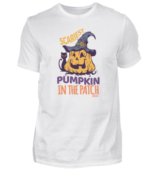 Scary pumpkin on the field