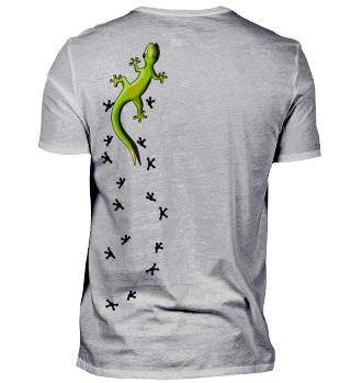 kletternder Gecko mit Spuren