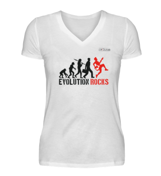 Damen V-Neck Shirt - Evolution Rocks