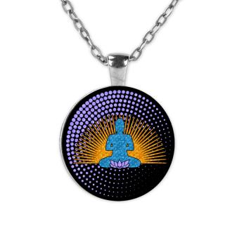 Buddha Sun Lotos Dots Mandala black