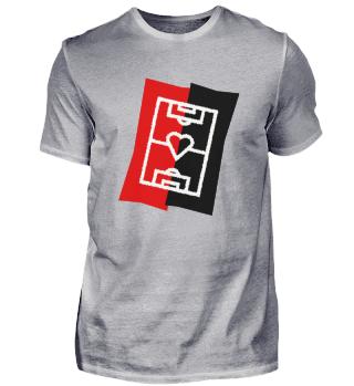 Fußballfeld mit Herz - rot/schwarz