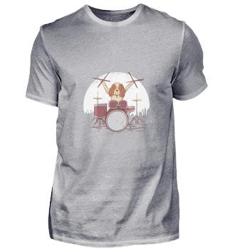 Musiker Hund mit Schlagzeug