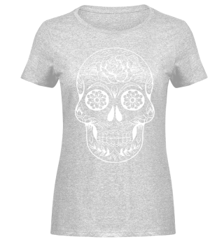 Gothic Rose Sugar Skull - weiss