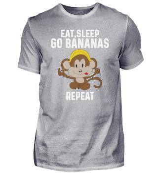 Eat Sleep Go Bananas Repeat Funny Cute A