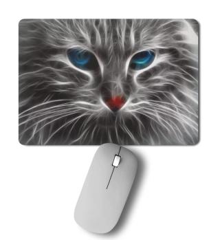 Mousepad mit Katzengesicht, blaue Augen