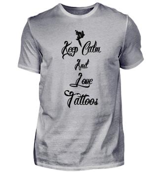 keep calm love tattoos Schwarz