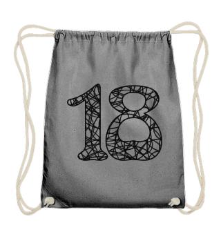Geburtstag 18 ausmalen - schwarz