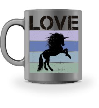 Stripes - LOVE - Tattoo Unicorn - black