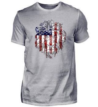 American Dream Lion Silhouette Design