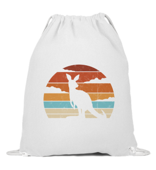 Retro Sunset Känguru Silhouette