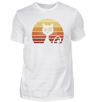 Retro Katze 80er Sunset Vintage Cat