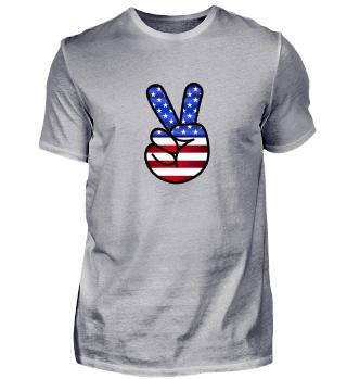 USA Peace Zeichen T-Shirt Geschenk Idee