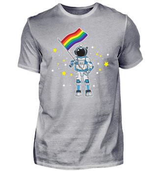 Astronaut mit LGBT Rainbow Flagge Gay
