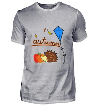 Herbst Igel Apfel Laub Drachen